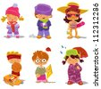Children and Seasons is a 6 in 1 illustration: winter girl with gift, winter boy with snowball, summer girl on the beach, summer boy with basketball, autumn boy, autumn girl with umbrella. - stock vector