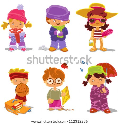 Children and Seasons is a 6 in 1 illustration: winter girl with gift, winter boy with snowball, summer girl on the beach, summer boy with basketball, autumn boy, autumn girl with umbrella.