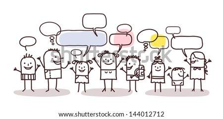 children and social network - stock vector