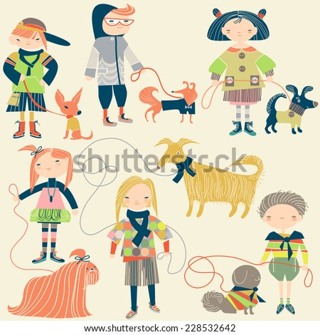 children and their dogs - stock vector