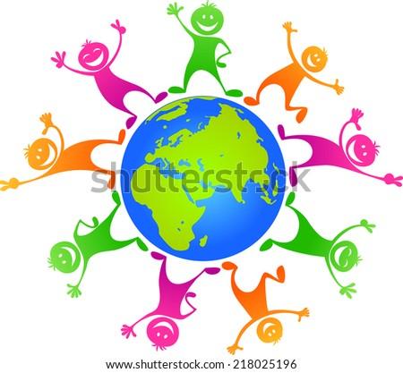 Children  around planet - stock vector