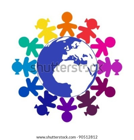 Children around the world - stock vector