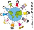 children around the world united - stock vector