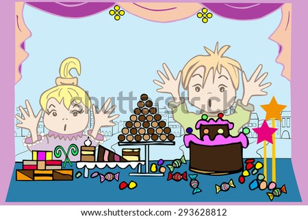 Children at the window with candy. Hand drawn outlines and contours. Perfect illustration for children books and postcard.