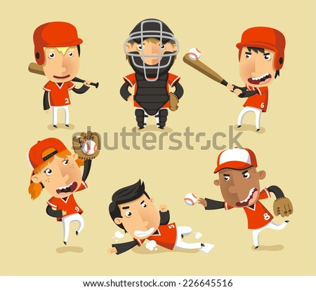 Children Baseball Team, vector illustration cartoon. - stock vector