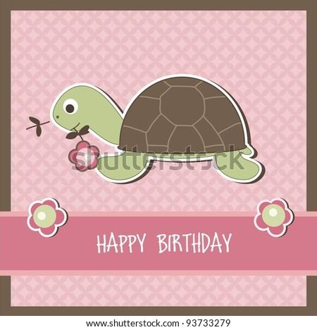 Children birthday card, vector - stock vector
