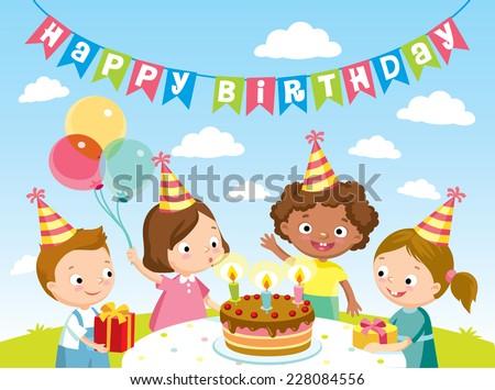 children birthday party - stock vector