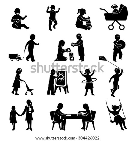 Children black silhouettes playing  active games set isolated vector illustration - stock vector