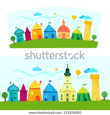 Children book illustration with town - stock vector