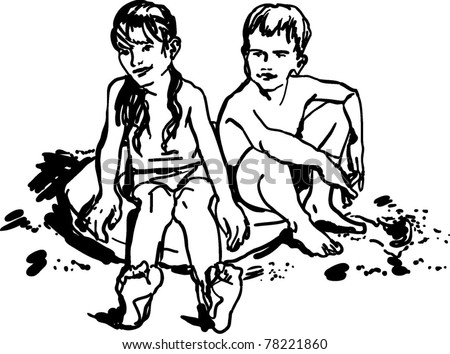 children boy and girl sitting on the beach    on the coastal fine sand on an inflatable disc    and tan