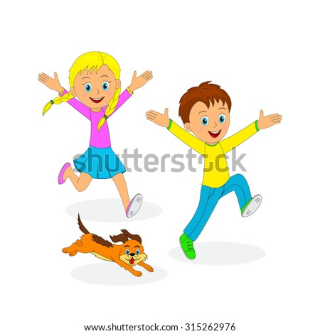 children,boy, girl and dog running, smiling and  waving their hands up, illustration, vector - stock vector