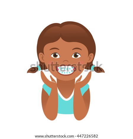Children braces. Happy African American girl with beautiful smile teeth - stock vector