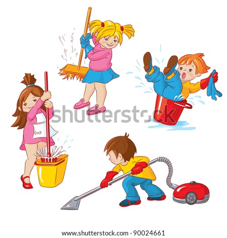 Children, busy cleaning up apartments. - stock vector