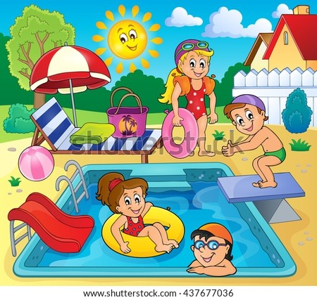 Children by pool theme image 2 - eps10 vector illustration.