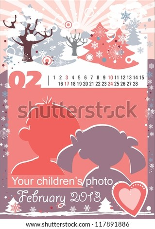 Children calendar for the month of February