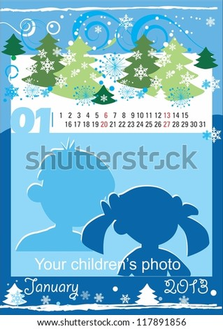 Children calendar for the month of January
