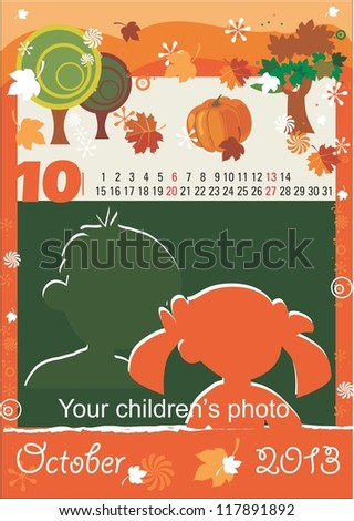 Children calendar for the month of October