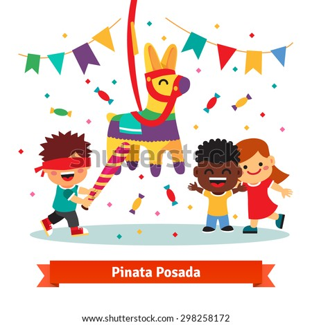 Children celebrating Posada by breaking a traditional donkey shaped Pinata.  Flat vector cartoon illustration isolated on white background. - stock vector