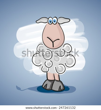 Children colored cartoon illustration, confused curly lamb with blue eyes, painted shadow, is located on pale blue gradient background with white spot - stock vector