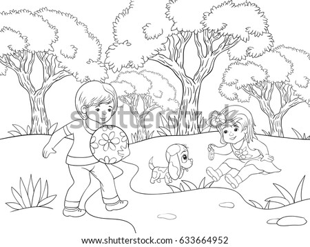 Children Coloring Pagesbook Boy Girl Park Cartoon Stock Vector ...