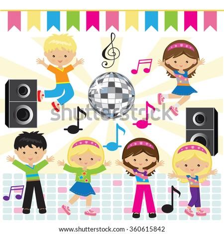 kids dancing stock vectors amp vector clip art shutterstock