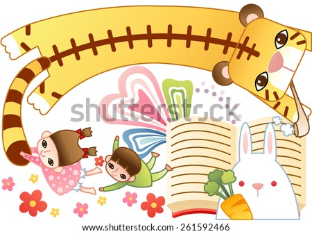 Children Day - pretty little girl and lovely boy holding the yellow tiger by its tail with a cute rabbit on white background with funny story book and colorful patterns : vector illustration - stock vector
