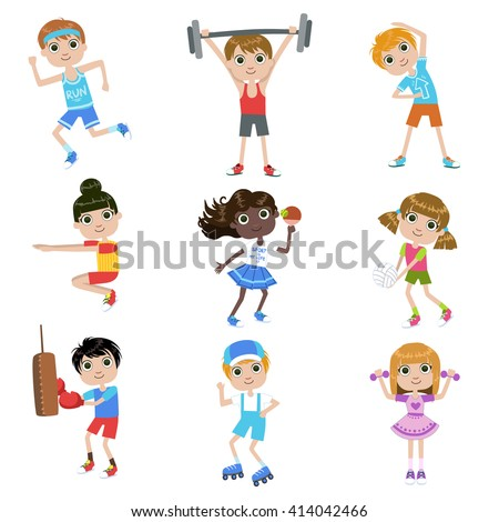 Children Doing Sports Set Of Simple Design Illustrations In Cute Fun Cartoon Style Isolated On White Background - stock vector