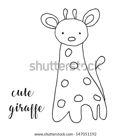 Giraffe Template   Children Drawing Cute Giraffe Template Painting Stock Vector