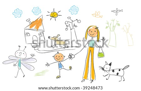 children drawing vector funny elements