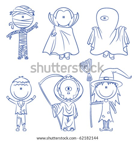 Children dressed in costumes ready to celebrate Halloween - stock vector