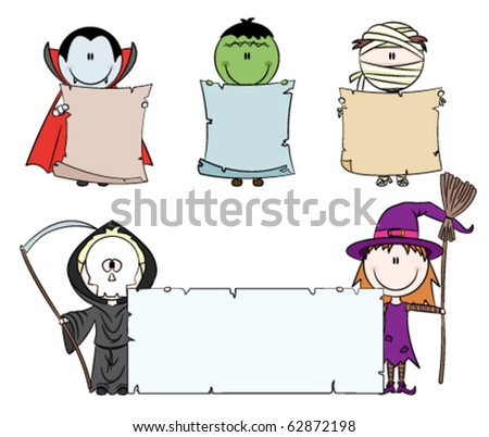 Children dressed in halloween costumes holding empty banner for your message - stock vector