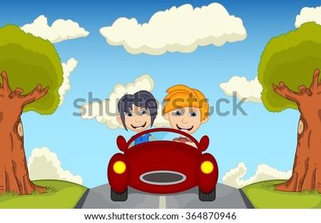 Children driving a car at the street cartoon vector illustration - stock vector