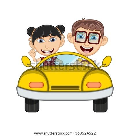 Children driving a car cartoon vector illustration - stock vector