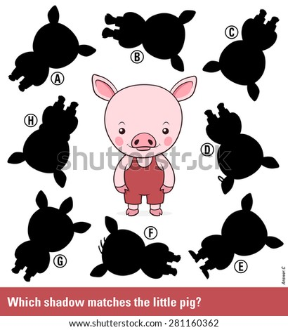 Children educational puzzle - match the shadow to the cute cartoon pig or piglet from an assortment of eight different silhouette shapes, vector illustration - stock vector
