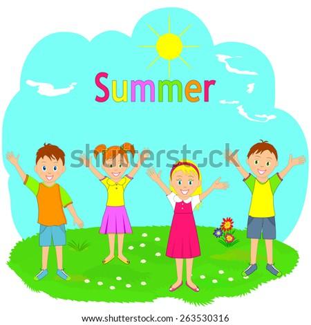 children enjoy coming summer on a green meadow, illustration, vector - stock vector