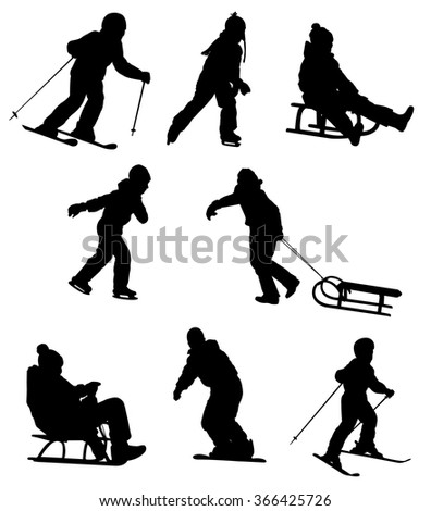 children enjoying winter sports - vector - stock vector