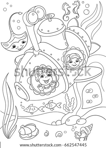 children exploring the underwater world in a submarine coloring pages for children cartoon vector illustration - Submarine Coloring Pages