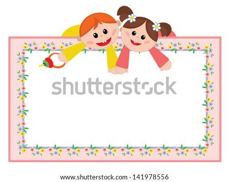 Children frame - stock vector