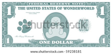 Children game money - one dollar bill - front - stock vector