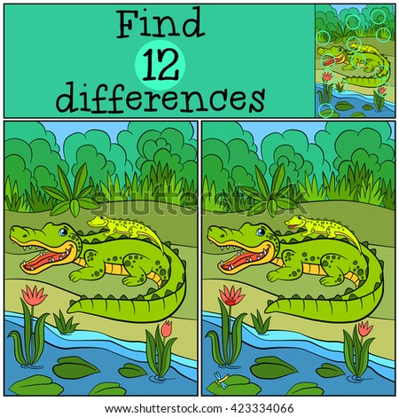 Children games: Find differences. Mother alligator with her little cute baby alligator in the back.