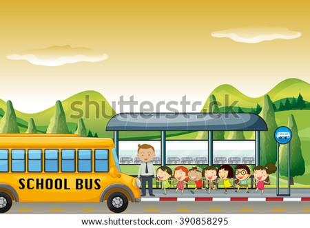 Children Getting On School Bus Bus Stock Vector 390858295 ...