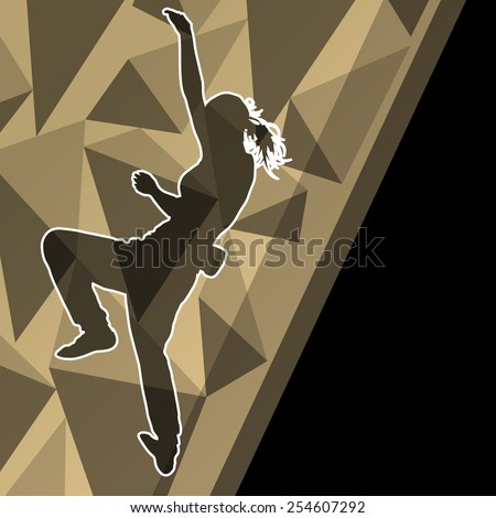 Children girl rock climber sport athlete climbing wall in abstract silhouette background illustration vector - stock vector