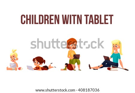 Children girls of different ages played in tablet and did not play in street, vector cartoon concept of todays children, the children sit and chat on the Internet, four girls looking at smartphone - stock vector