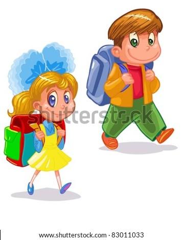 children go to school - stock vector