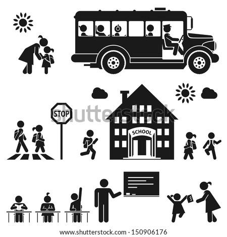 Children go to school. Pictogram icon set - stock vector