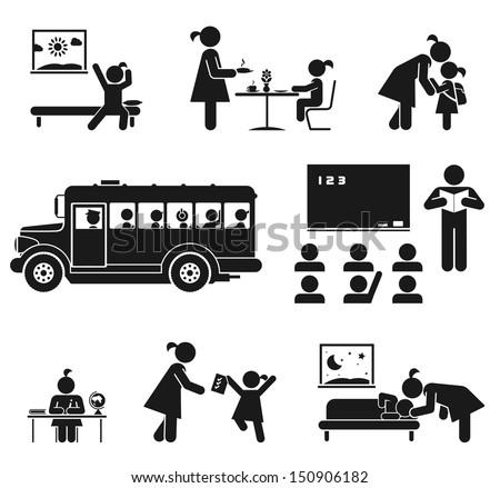 Children go to school. Pictogram icon set - stock vector
