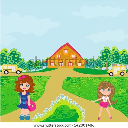 children going to school - stock vector