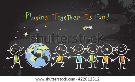 Children, group of kids, playing together. Vector illustration, chalk on blackboard doodle, hand drawn sketch, scribble.  - stock vector