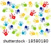 Children handprints - stock vector
