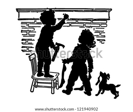 Children Hanging Stockings - Retro Clipart Illustration - stock vector